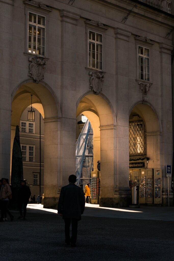 Rays of light passing through arches in the Salzburg Old Town