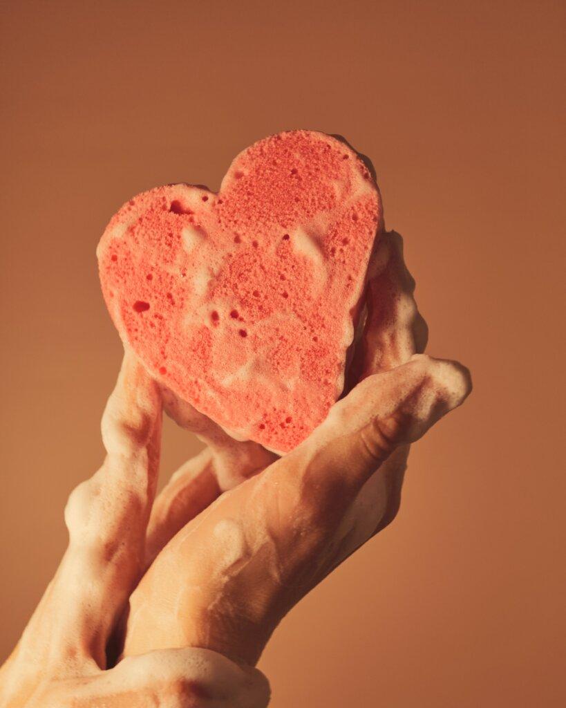 Soapy sponge shaped like a heart