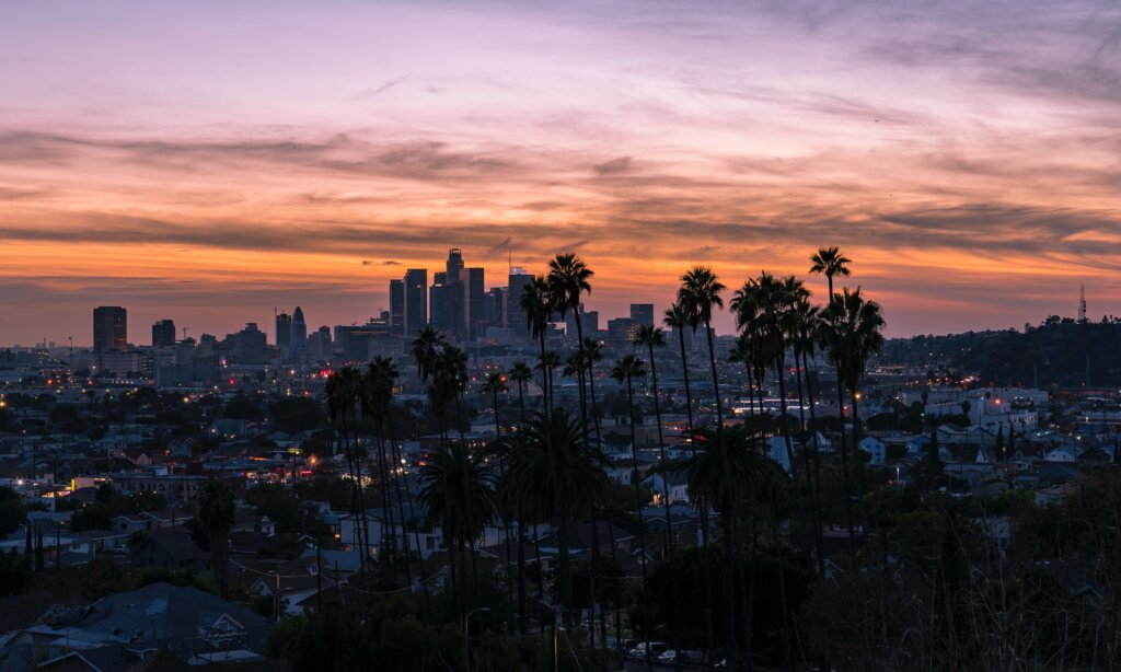 A hilltop view of the Los Angeles cityscape at dusk.