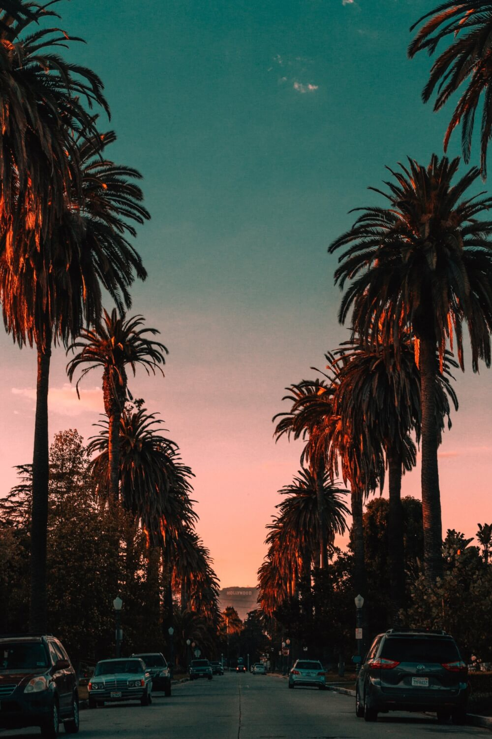 A lurid dusk sky over a street lined by palm trees with the hollywood sign positioned on a hillside in the distance.