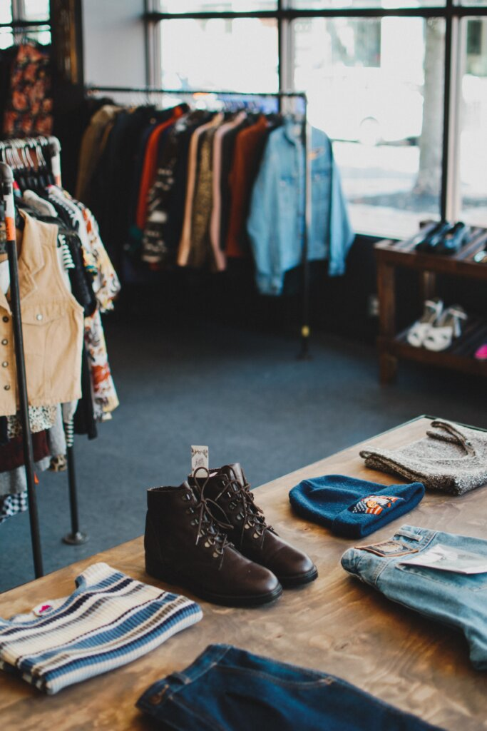 Thrift shop with boots on display