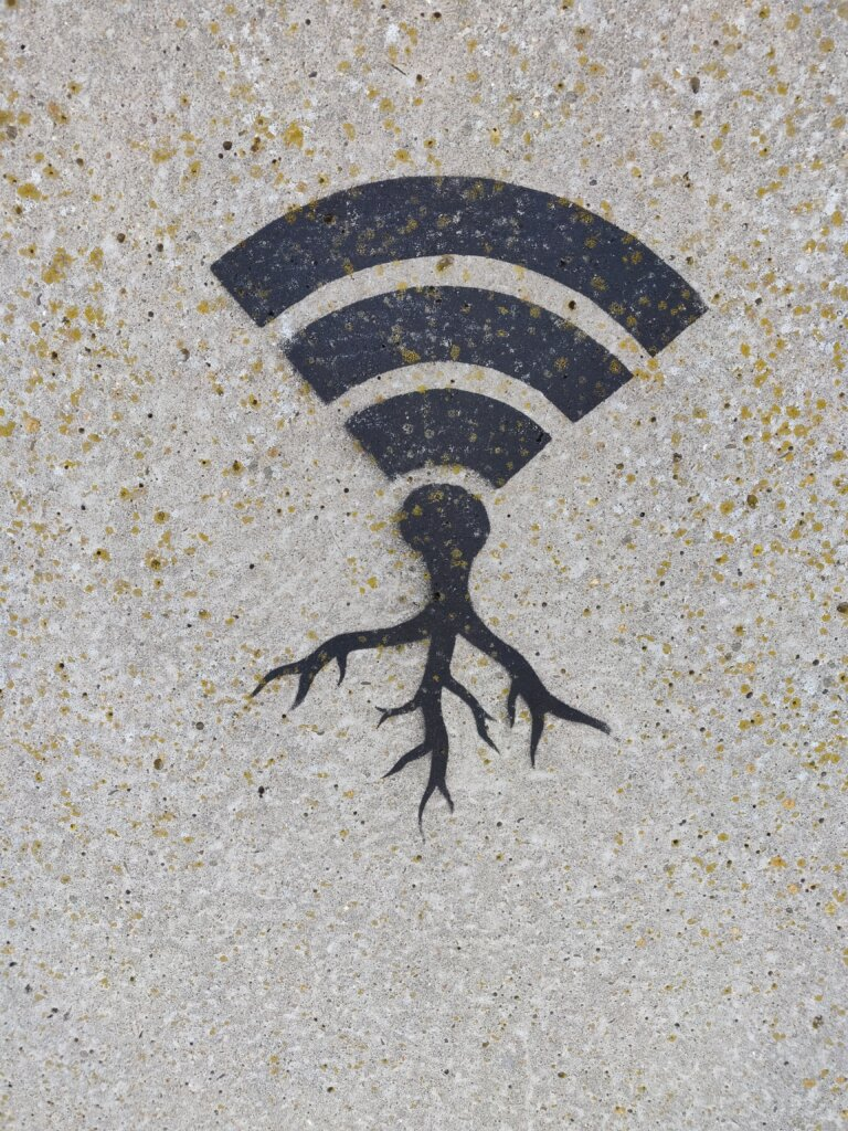 WiFi symbol with roots painted on a wall
