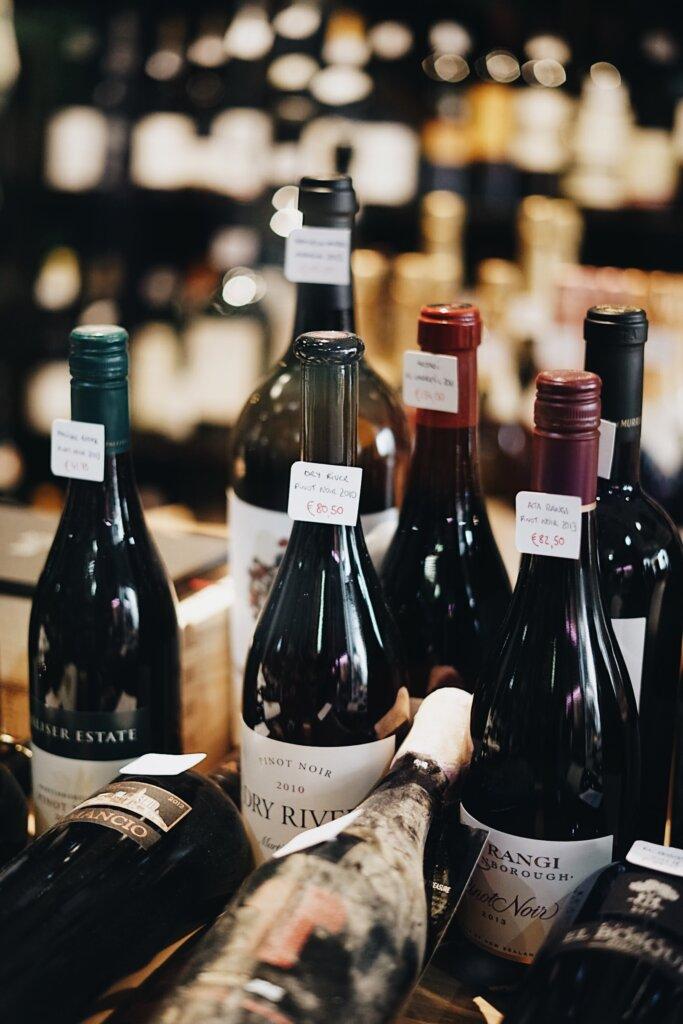 Wine bottles on sale in a shop
